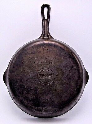 "Vintage Griswold Erie PA No. 7 Small Logo Cast Iron Skillet 701H 9.5"" Frying Pan"