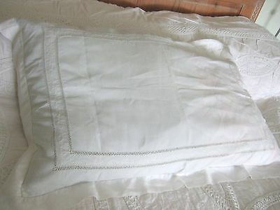 Large Vintage White Embroidered & Drawn Thread Bolster Pillow Cushion Case