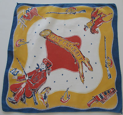 Vintage Child's Hankie Davy Crockett Blue Gold Brown White Cotton 1940-1950's