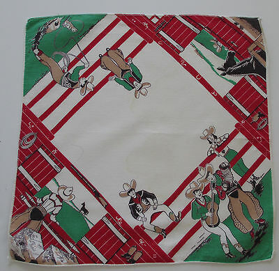Vintage Child's Hankie Cowboys Horses White Red Green Black Cotton 1940-1950's