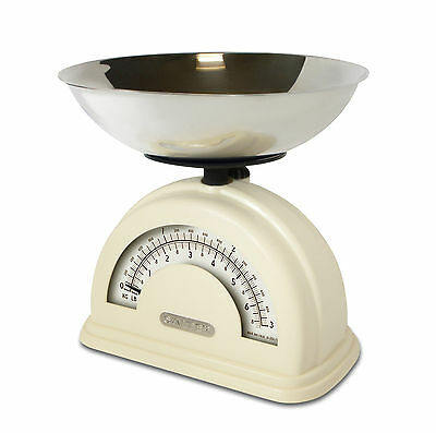 Salter Vintage Retro Style Mechanical Kitchen Scale with Weighing Bowl - Cream