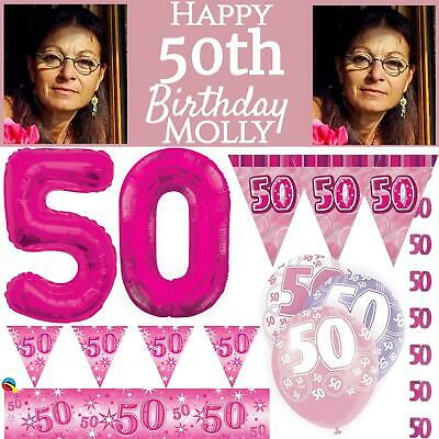 Pink Age 50 Happy 50th Birthday Party Decoration Female Celebration