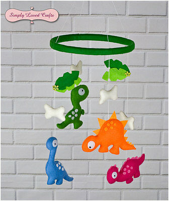 Perfect Gift for Baby Boy Handmade Felt Mobile with Dinosaurs.