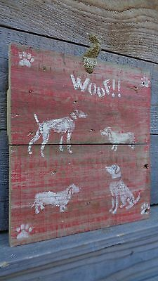 Dog Dogs wood sign farmhouse hand painted primitive old barn artist original