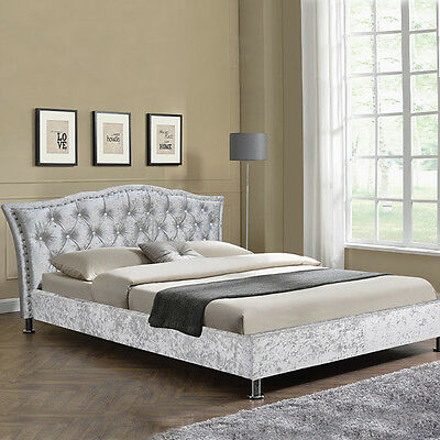 Silver Crushed Velvet Bed Frame Designer Crystal Diamante Double King Size