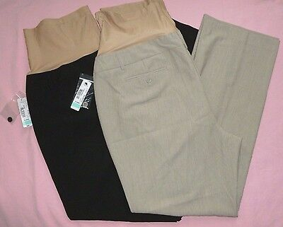NEW DUO MATERNITY M XL Career Stretch Trouser Dress Pants Overbelly Black Beige