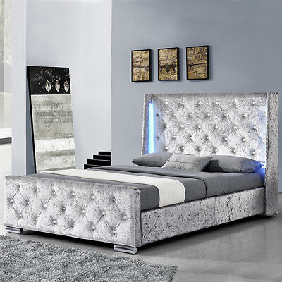 Modern Silver Crushed Velvet Bed Frame With LED Lights Double / King Size