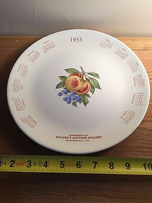 1953 CALENDAR PLATE WALTER'S AUCTION GALLERY MACUNGIE PA Fruit
