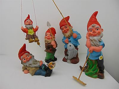 5 Plastic Garden GNOMES Fishing, Swing, Butterfly Includes HEISSNER Germany
