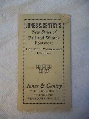 Antique JONES AND GENTRY'S FALL WINTER SHOE CATALOG WINSTON SALEM NC