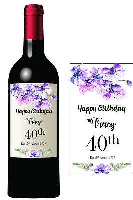 Wine Bottle Stickers/label Birthday Wedding Anniversary Personalised