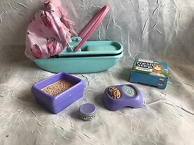 Barbie Doll Posh Pets Kitten Style Bassinet Food Pregnant Cat Accessories