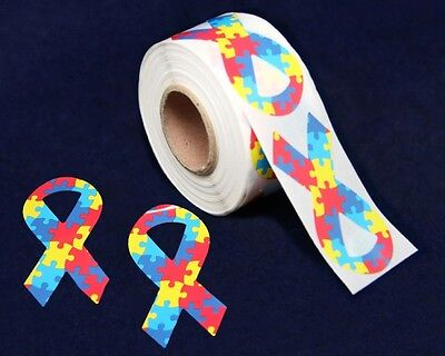 Lot of 250 Large Autism Awareness Ribbon Stickers