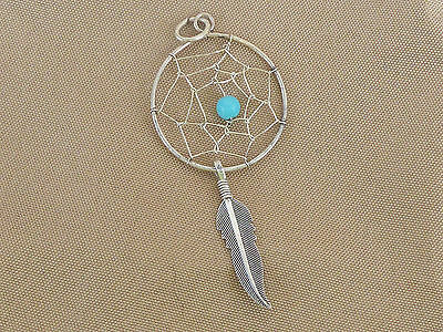 """Sterling Silver Navajo Dream Catcher Pendent Charm, 7/8"""" x 2 1/4"""", 1.1 grams"""