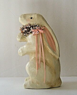 Paper Mache Bunny Rabbit Easter Signed McCann Dried Flowers