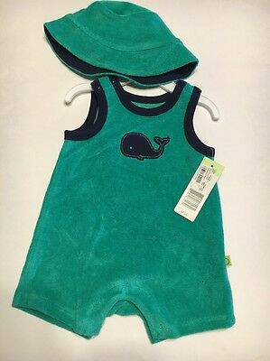 323dac0af NWT OFFSPRING BABY Boy s Whale Romper And Hat Outfit Green Size 3 ...