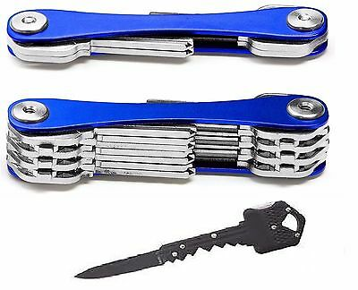 1-14 Key Chain Organizer Portable Expandable Metal Holder Ring Blue+Pocket Knife