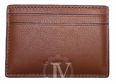 New Men's Coach Dark Saddle Leather Money Clip Card Case Holder Wallet