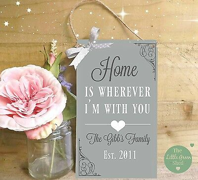 House warming Gift Plaque New Home Sign Family Name Print Heart Shabby Chic Gift