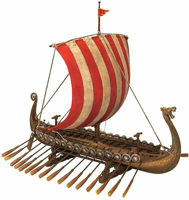 Viking Dragon Headed Longship Museum Replica Model Ship with Display Stand