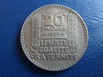 1933 France Silver 20 Franc-Large Silver Coin-20 Grams- VG Cond 17-69