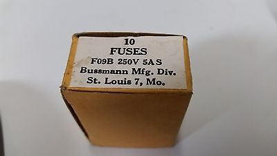 New (8 Boxes of 10) Buss Fuses 5A Bussmann F09B250V5AS F09B 250V 5AS S (A3)