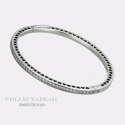 "Authentic Pandora Silver Radiant Hearts White Enamel CZ Bangle 6.9"" 590537EN23-2"
