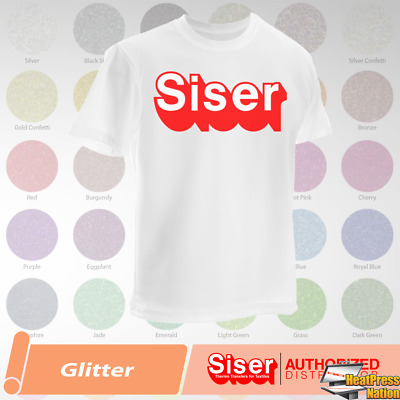 "Siser Glitter HTV T-Shirt Vinyl 20"" x 12"", 5 Yards - 39 COLORS"
