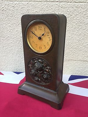 Rare Antique Arts And Crafts Copper Tall Mantle Clock