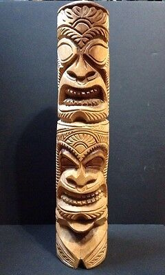 Hawaiian Tiki Signed Wood Carving Island Bar Display Large! 18""