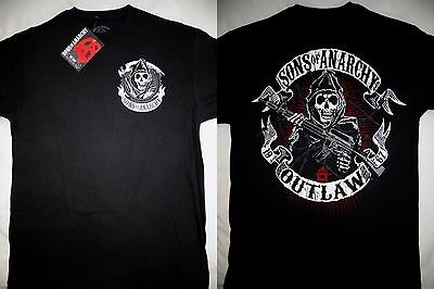 Sons of Anarchy SOA Outlaw Reaper With Gun Tv Show Black T-Shirt