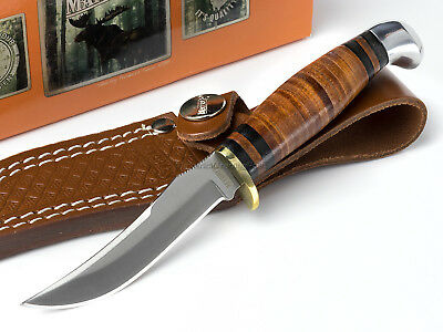 Marbles Small Fixed Blade Hunter Knife Leather Stacked Handle Belt Sheath MR396