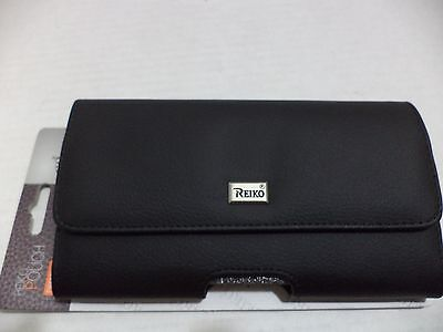 """Reiko Horizontal Z lid Leather Pouch Carrying Case for iPhone 6/6S Black 4.7"""""""