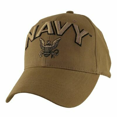 New U.s Navy Official Coyote Brown Hat 3D Embroidered Raised Letters Ball Cap