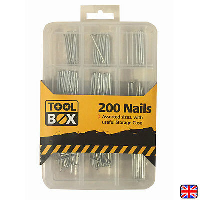 200 Piece Nail Assortment Building Bright Panel Masonry Nails Wood With Case