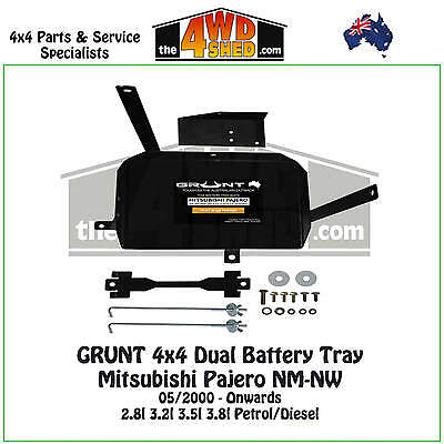 Grunt 4x4 Dual Battery Tray Mitsubishi Pajero NM NW 2000 - Onwards Petrol Diesel