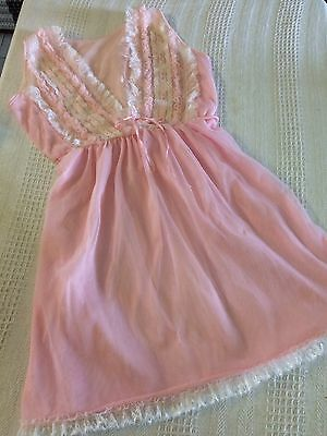 Vintage Mary Lyn Shortie Nightie Size 10 Pretty Pink