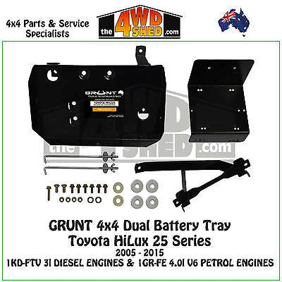 Grunt 4x4 Dual Battery Tray Toyota HiLux 25 Series 2005 - 2015 Petrol Diesel