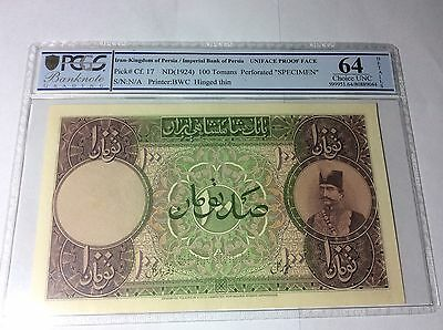 Persia, Qajar,100 Tomans,ad 1890,pick 17,pmg 64,uniface Proof-Specimen,rrr