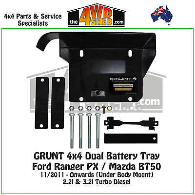 Grunt 4x4 Dual Battery Tray Ford Ranger PX Mazda BT50 2011 - On 2.2l 3.2l Diesel