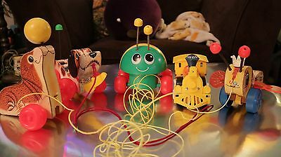 Vintage Fisher Price Pull Toy Lot 5 toys Seal, Train, Ladybug, Dog, and Bee