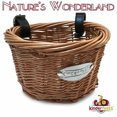 WICKER CARRY BASKET with Handlebar Straps -fit KINDERFEETS Tiny Tot Balance Bike