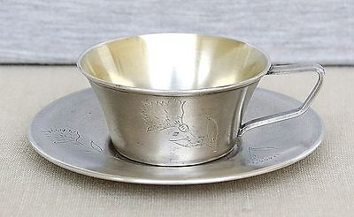 RUSSIAN USSR VINTAGE GILT SILVER 875 CUP & SAUCER ENGRAVING 132gr. MOSCOW 1973