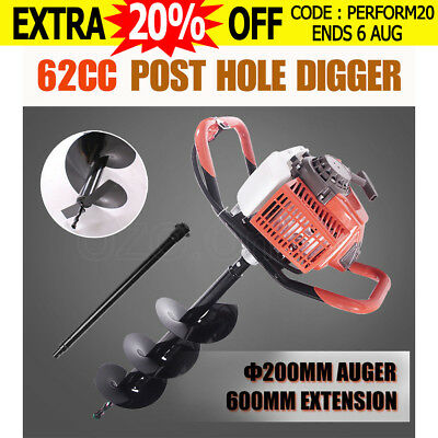 62cc Post Hole Digger Posthole Petrol Earth Drill Fence Borer Auger Extension OZ