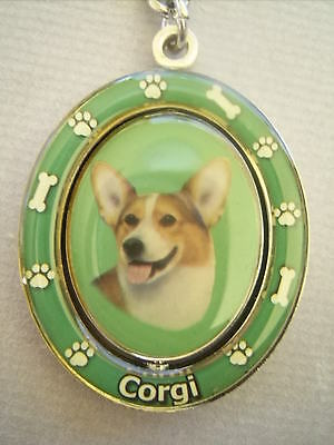 New Collectible Welsh Corgi Dog Metal Spinning Pet Keychain