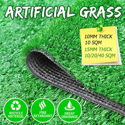 10-40 SQM Artificial Grass Synthetic Turf Emerald Plastic Plant Lawn Flooring OZ