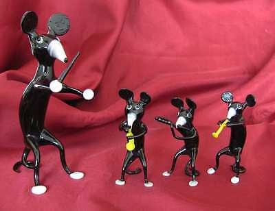 VINTAGE SET OF FOUR HANDMADE MINI GLASS FIGURINES – MOUSE MUSICAL BAND w/BOX