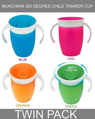 Munchkin Miracle 360 degree Baby/Child/Kids Trainer Cup with Handles (TWIN PACK)