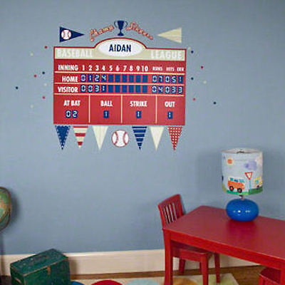 Oopsy Daisy  Baseball Athlete Scoreboard Peel And Place Fabric Wall Decals NEW