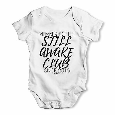 Twisted Envy Personalised Still Awake Club Baby Unisex Funny Baby Grow Bodysuit